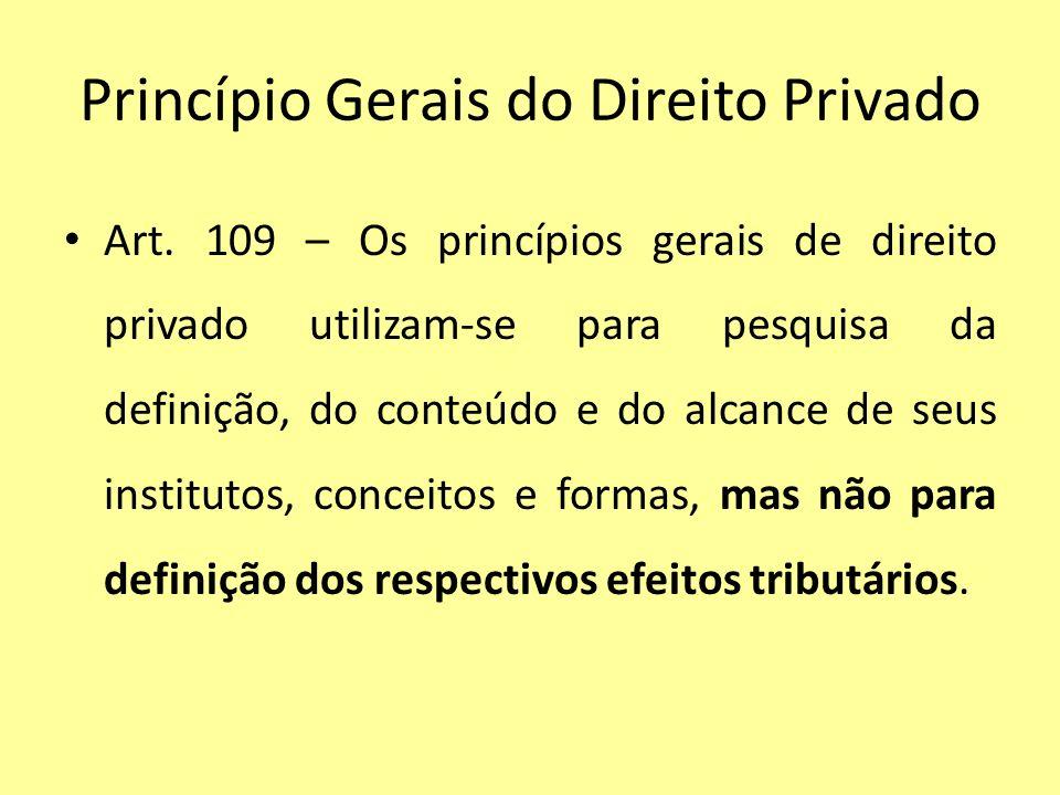 Princípio Gerais do Direito Privado Art. 109 – Os princípios gerais de direito privado utilizam-se para pesquisa da definição, do conteúdo e do alcanc