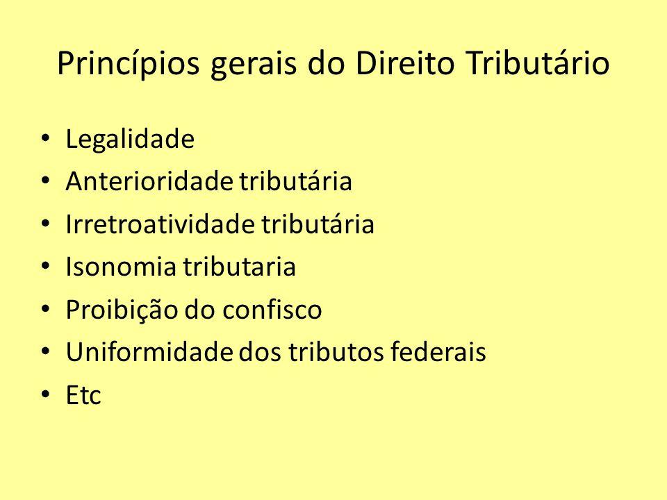 Princípios gerais do Direito Tributário Legalidade Anterioridade tributária Irretroatividade tributária Isonomia tributaria Proibição do confisco Unif