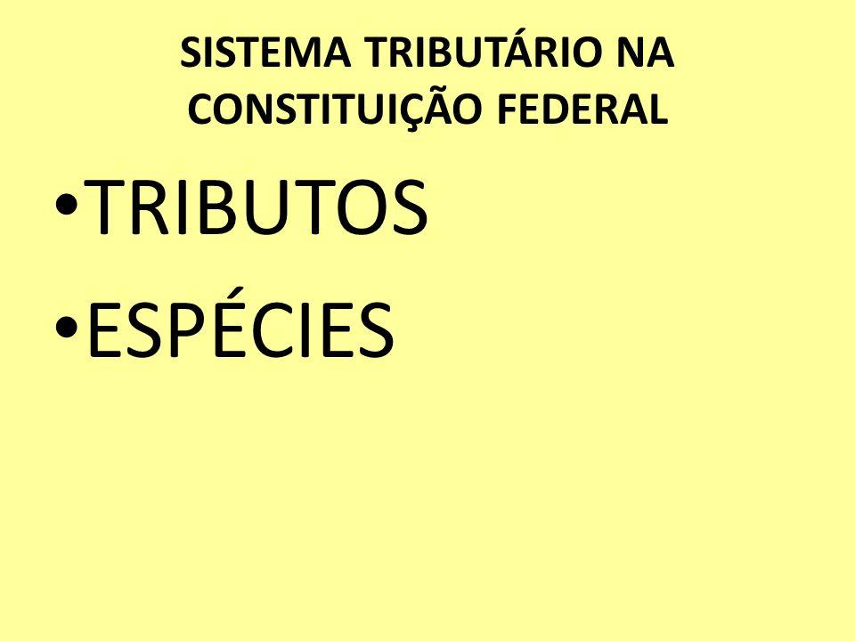 SISTEMA TRIBUTÁRIO NA CONSTITUIÇÃO FEDERAL TRIBUTOS ESPÉCIES