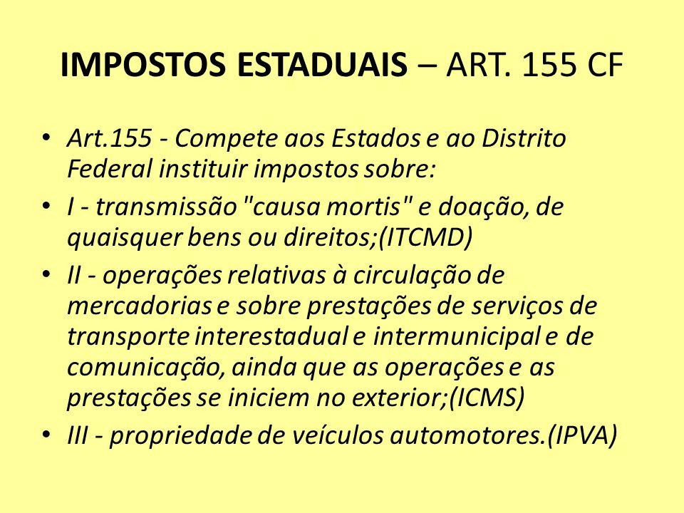 IMPOSTOS ESTADUAIS – ART. 155 CF Art.155 - Compete aos Estados e ao Distrito Federal instituir impostos sobre: I - transmissão