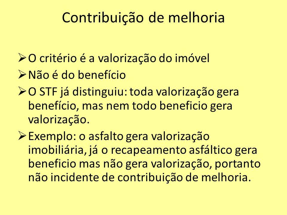 Contribuição de melhoria O critério é a valorização do imóvel Não é do benefício O STF já distinguiu: toda valorização gera benefício, mas nem todo be
