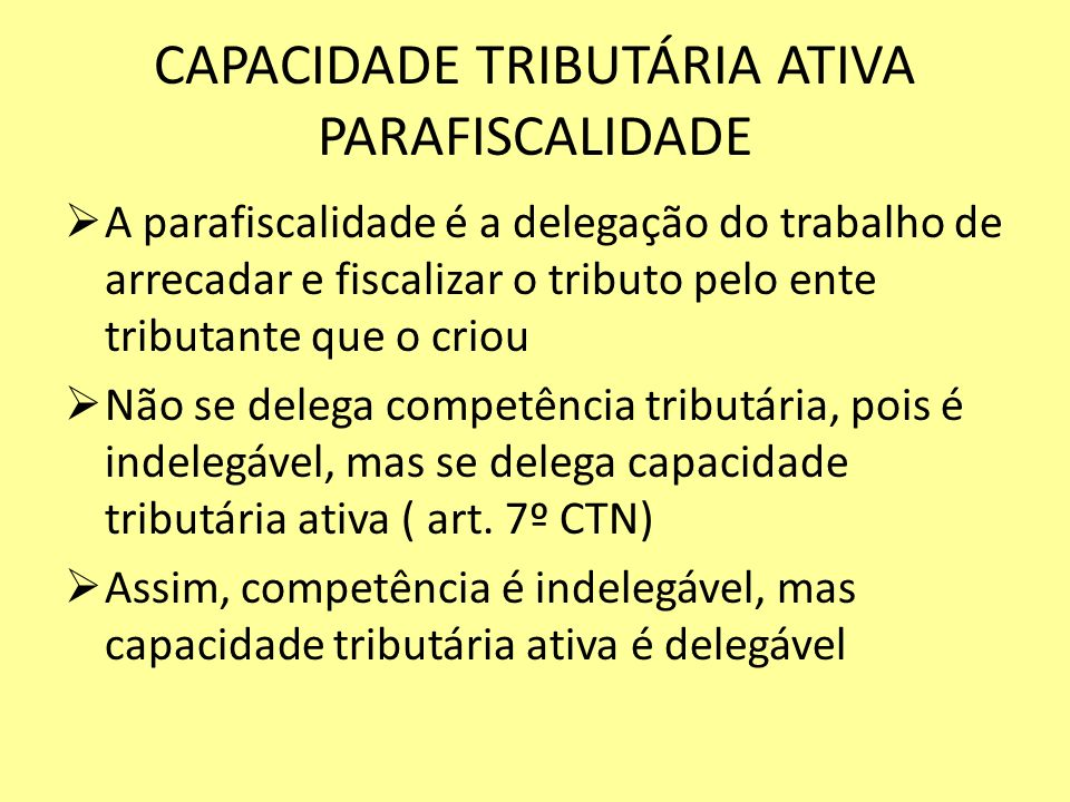CAPACIDADE TRIBUTÁRIA ATIVA PARAFISCALIDADE A parafiscalidade é a delegação do trabalho de arrecadar e fiscalizar o tributo pelo ente tributante que o