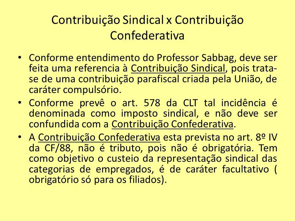Contribuição Sindical x Contribuição Confederativa Conforme entendimento do Professor Sabbag, deve ser feita uma referencia à Contribuição Sindical, p