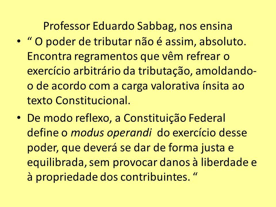Professor Eduardo Sabbag, nos ensina O poder de tributar não é assim, absoluto. Encontra regramentos que vêm refrear o exercício arbitrário da tributa