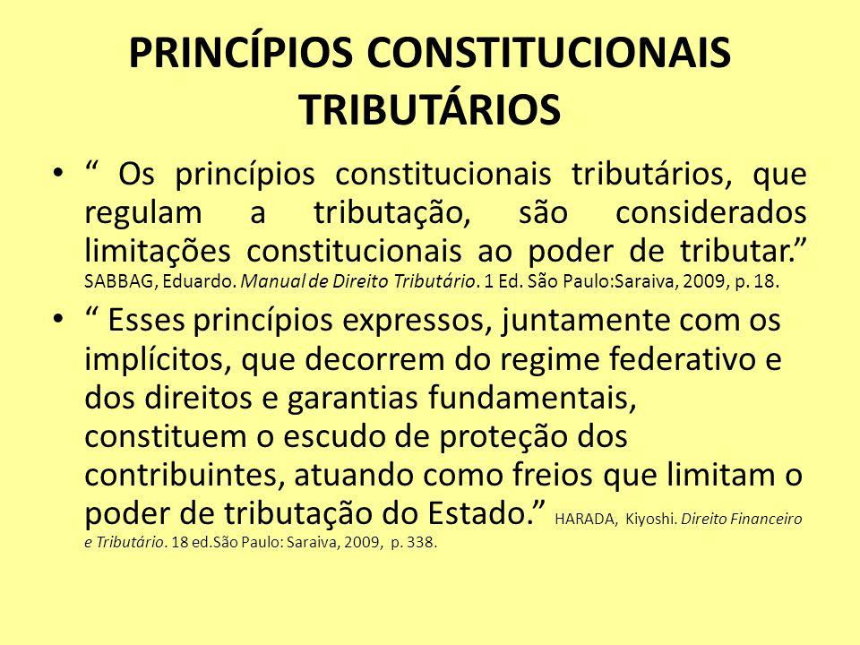 PRINCÍPIOS CONSTITUCIONAIS TRIBUTÁRIOS Os princípios constitucionais tributários, que regulam a tributação, são considerados limitações constitucionai