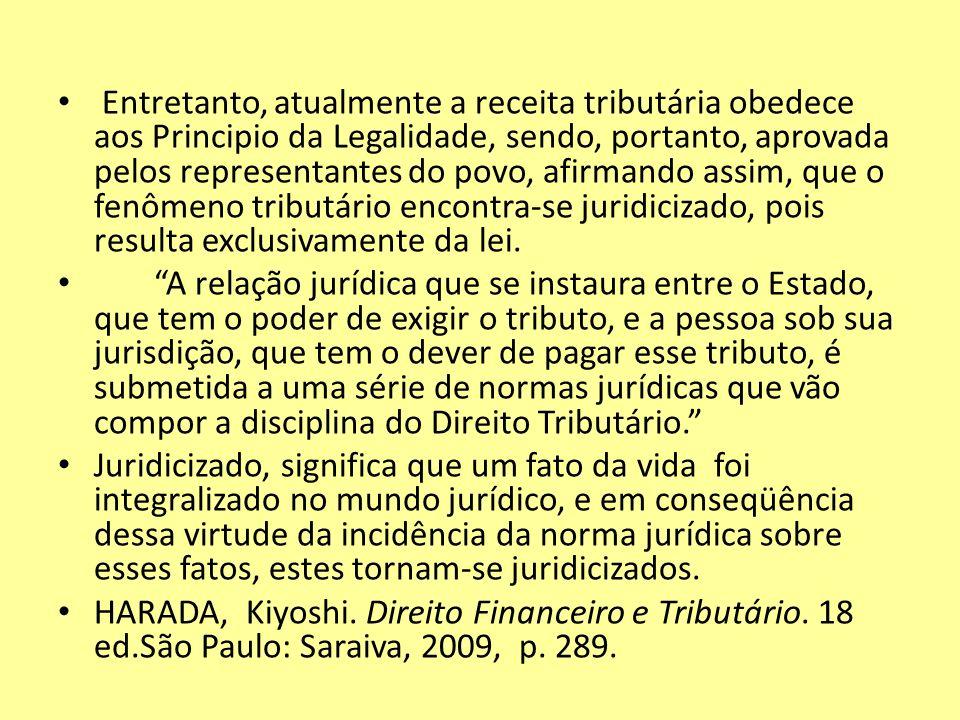 Entretanto, atualmente a receita tributária obedece aos Principio da Legalidade, sendo, portanto, aprovada pelos representantes do povo, afirmando ass