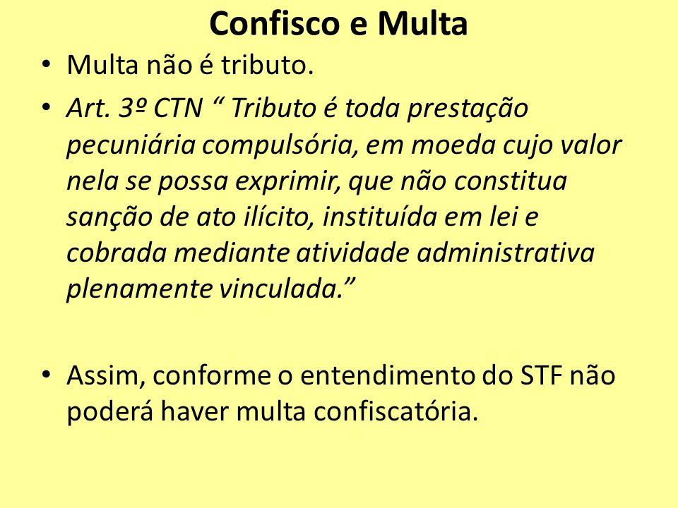 Confisco e Multa Multa não é tributo. Art. 3º CTN Tributo é toda prestação pecuniária compulsória, em moeda cujo valor nela se possa exprimir, que não
