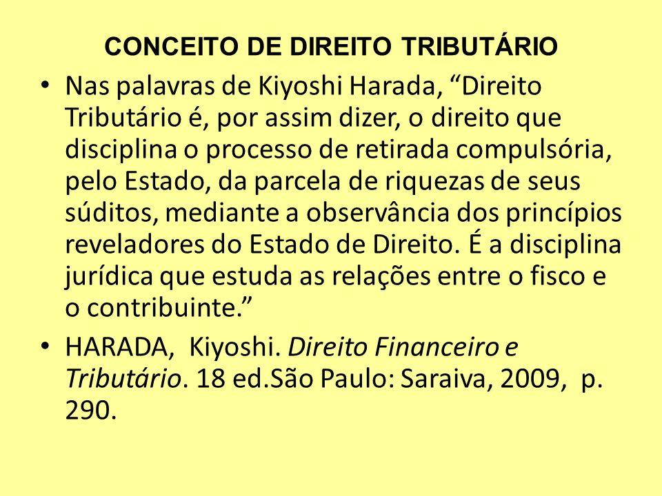 CONCEITO DE DIREITO TRIBUTÁRIO Nas palavras de Kiyoshi Harada, Direito Tributário é, por assim dizer, o direito que disciplina o processo de retirada