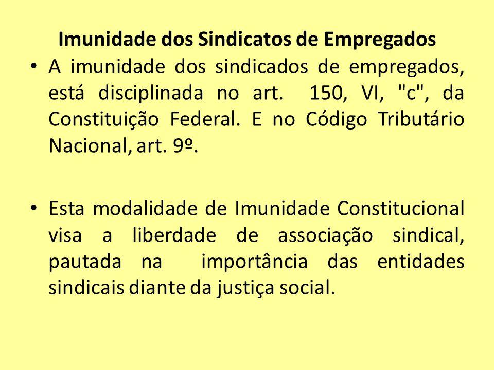 Imunidade dos Sindicatos de Empregados A imunidade dos sindicados de empregados, está disciplinada no art. 150, VI,