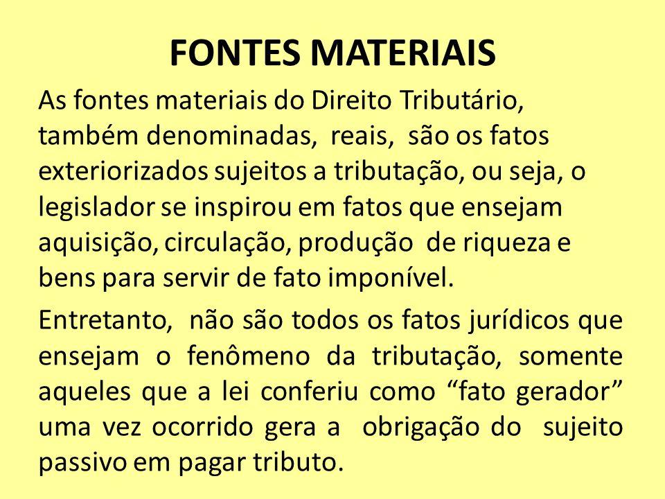 FONTES MATERIAIS As fontes materiais do Direito Tributário, também denominadas, reais, são os fatos exteriorizados sujeitos a tributação, ou seja, o l