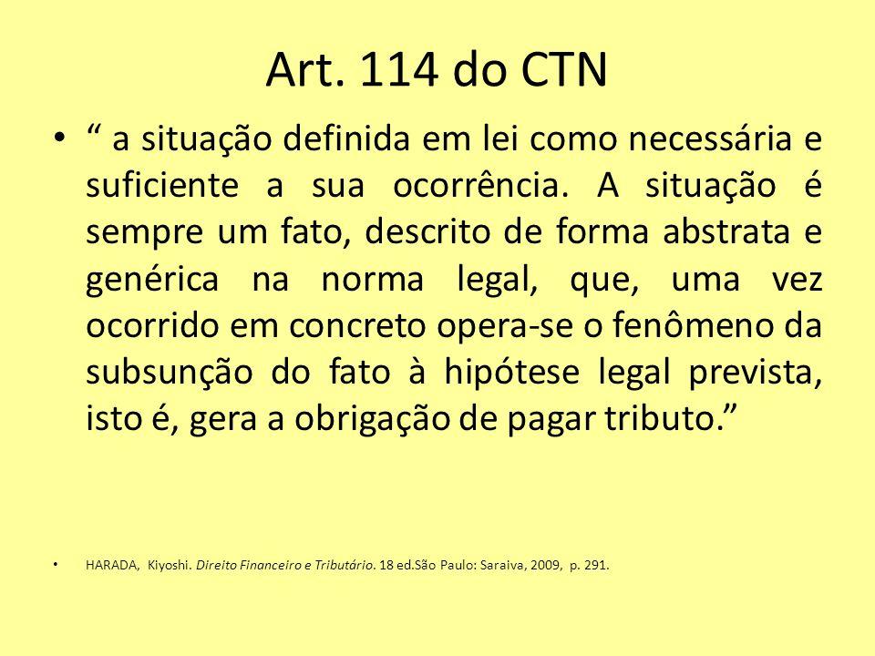 Art. 114 do CTN a situação definida em lei como necessária e suficiente a sua ocorrência. A situação é sempre um fato, descrito de forma abstrata e ge