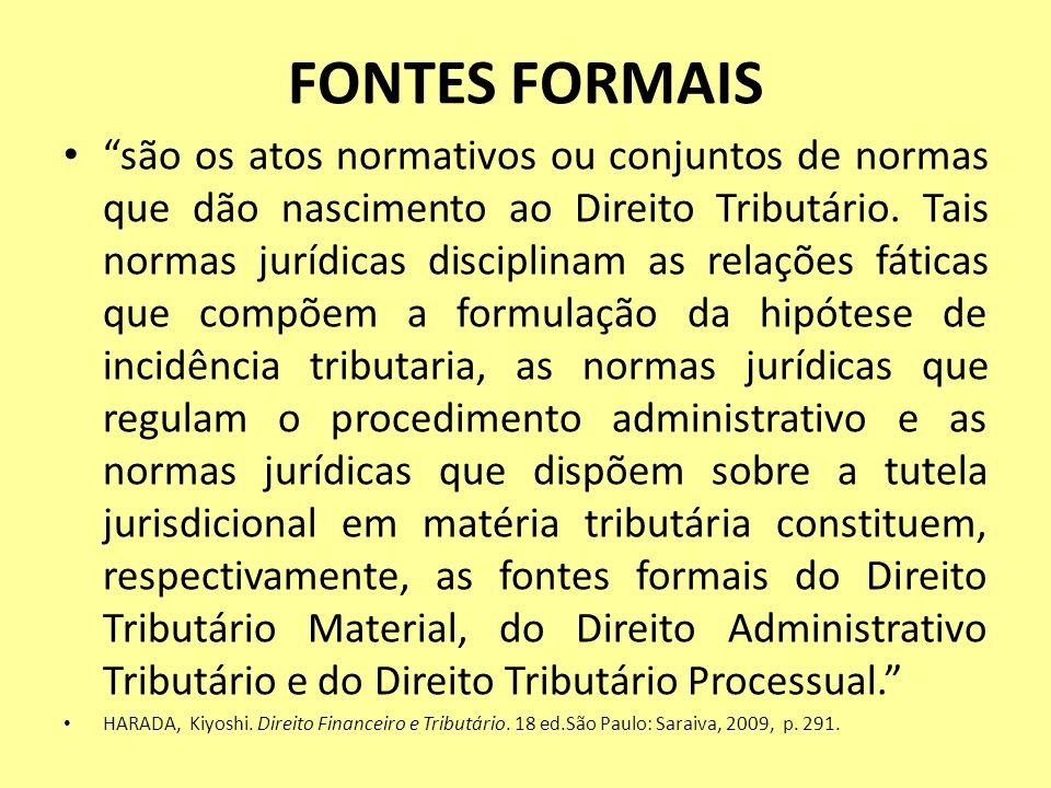 FONTES FORMAIS são os atos normativos ou conjuntos de normas que dão nascimento ao Direito Tributário. Tais normas jurídicas disciplinam as relações f