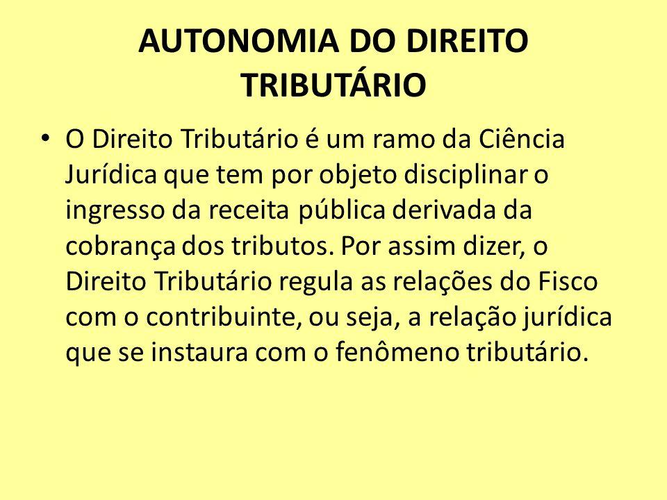 AUTONOMIA DO DIREITO TRIBUTÁRIO O Direito Tributário é um ramo da Ciência Jurídica que tem por objeto disciplinar o ingresso da receita pública deriva