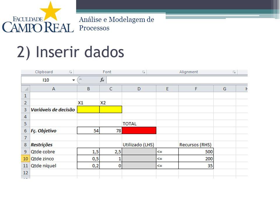 Análise e Modelagem de Processos 2) Inserir dados