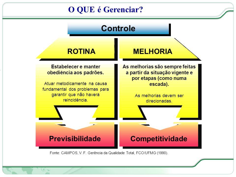 18 de 66 O QUE é Gerenciar.Fonte: CAMPOS, V. F. Gerência da Qualidade Total, FCO/UFMG (1990).