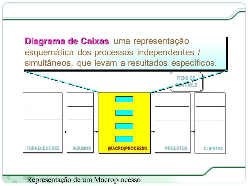 28 de 66 Representação de um Macroprocesso ITENS DE CONTROLE (MACRO)PROCESSO(MACRO)PROCESSOFORNECEDORESFORNECEDORESCLIENTESCLIENTESPRODUTOSPRODUTOSINSUMOSINSUMOS Diagrama de Caixas Diagrama de Caixas: uma representação esquemática dos processos independentes / simultâneos, que levam a resultados específicos.