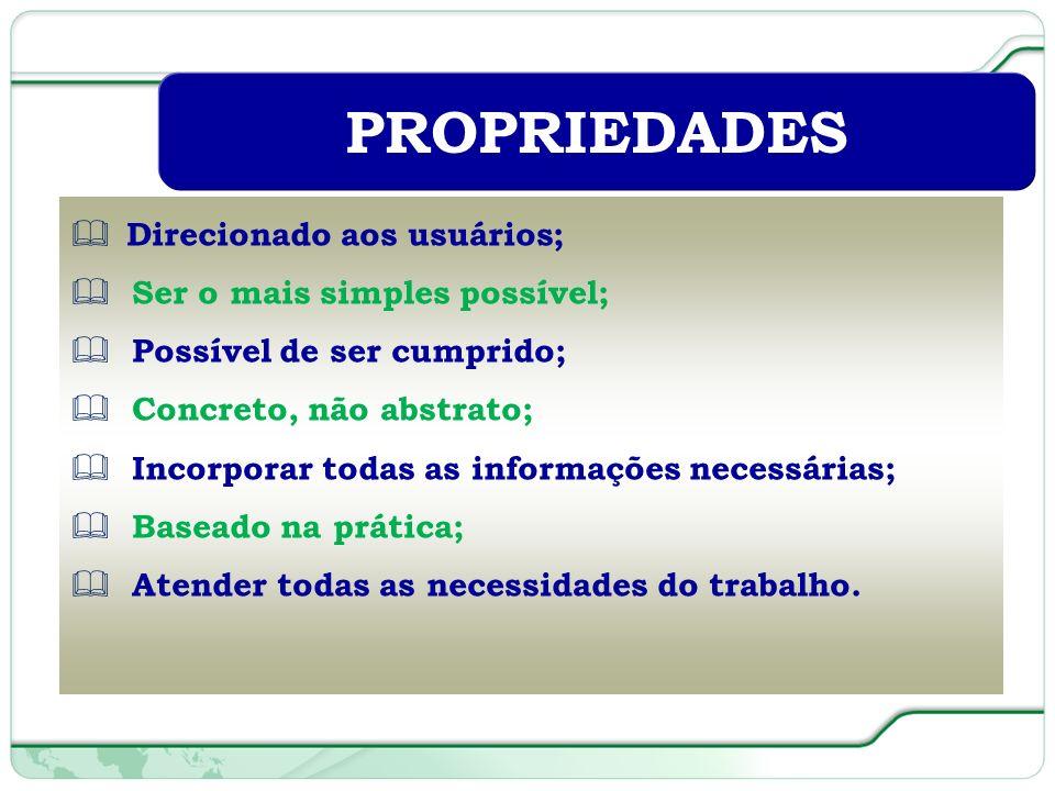 47 de 66 Direcionado aos usuários; Ser o mais simples possível; Possível de ser cumprido; Concreto, não abstrato; Incorporar todas as informações necessárias; Baseado na prática; Atender todas as necessidades do trabalho.