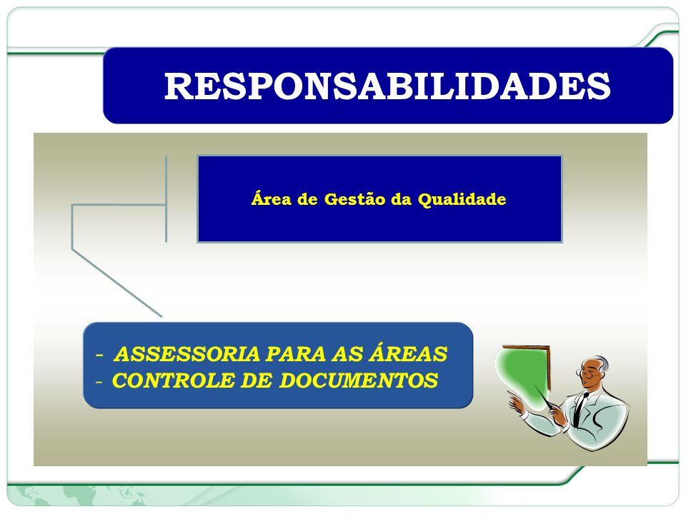 51 de 66 RESPONSABILIDADES - ASSESSORIA PARA AS ÁREAS - CONTROLE DE DOCUMENTOS Área de Gestão da Qualidade
