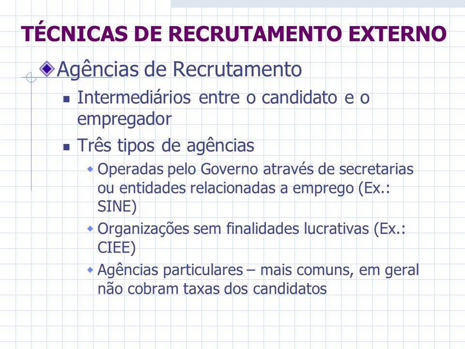 TÉCNICAS DE RECRUTAMENTO EXTERNO Agências de Recrutamento Intermediários entre o candidato e o empregador Três tipos de agências Operadas pelo Governo