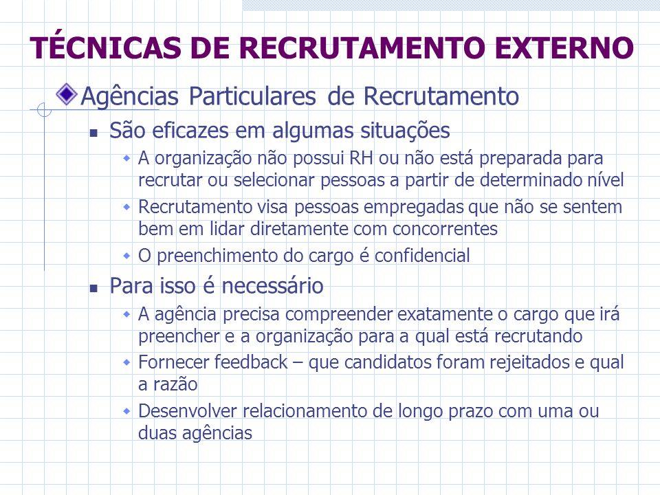 Agências Particulares de Recrutamento São eficazes em algumas situações A organização não possui RH ou não está preparada para recrutar ou selecionar