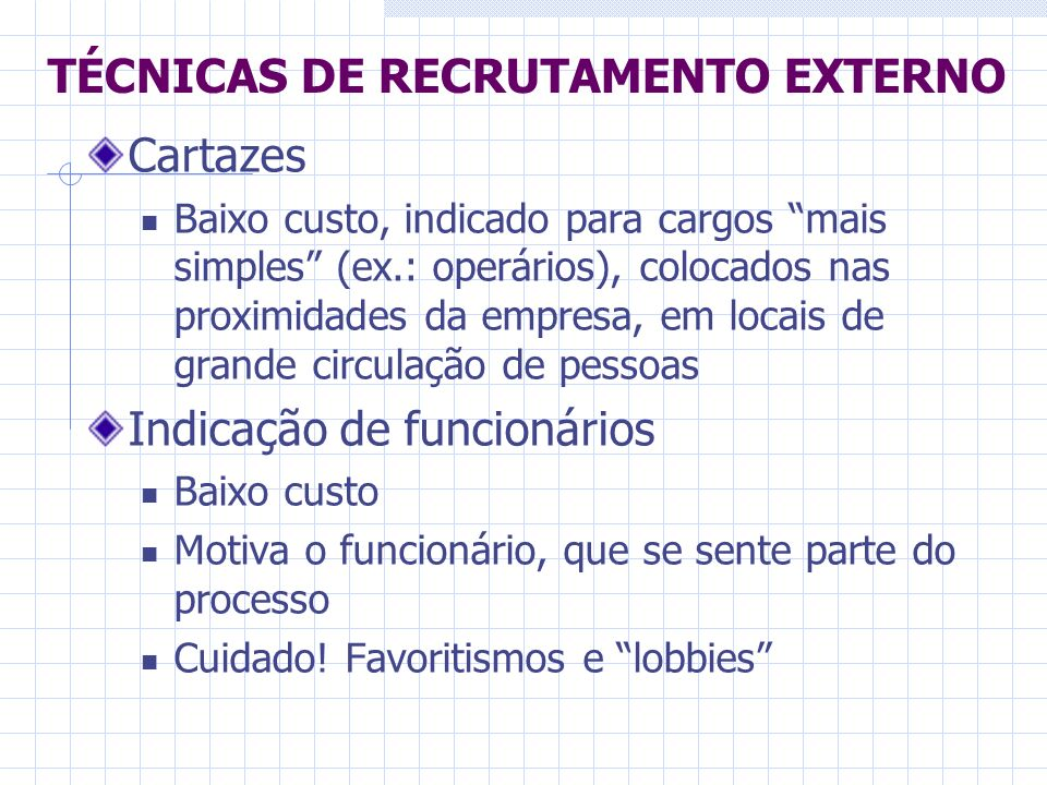 Cartazes Baixo custo, indicado para cargos mais simples (ex.: operários), colocados nas proximidades da empresa, em locais de grande circulação de pes