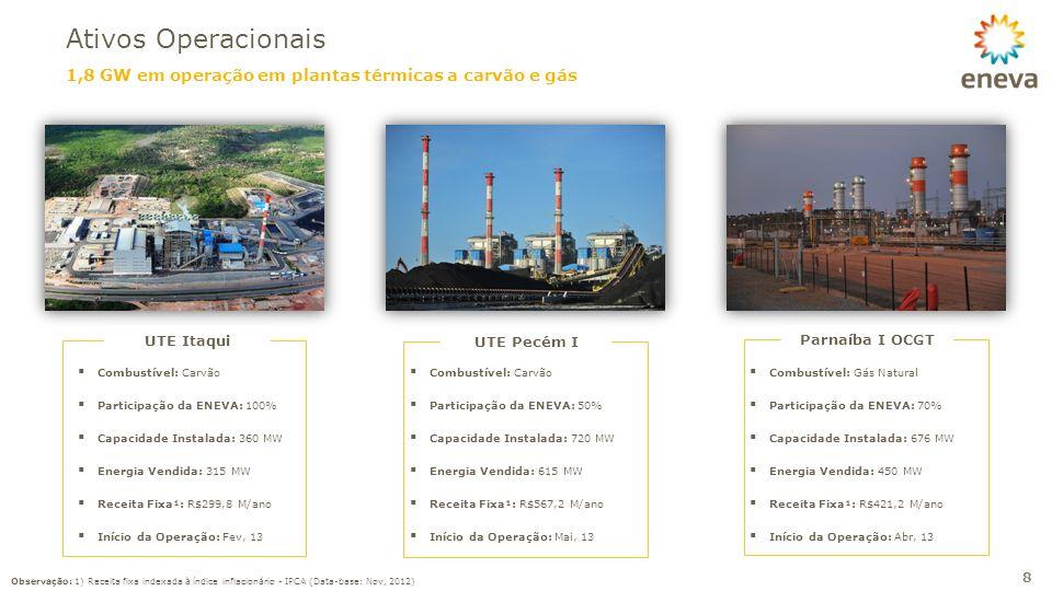 1,8 GW em operação em plantas térmicas a carvão e gás Ativos Operacionais 8 UTE Pecém I Combustível: Carvão Participação da ENEVA: 50% Capacidade Inst