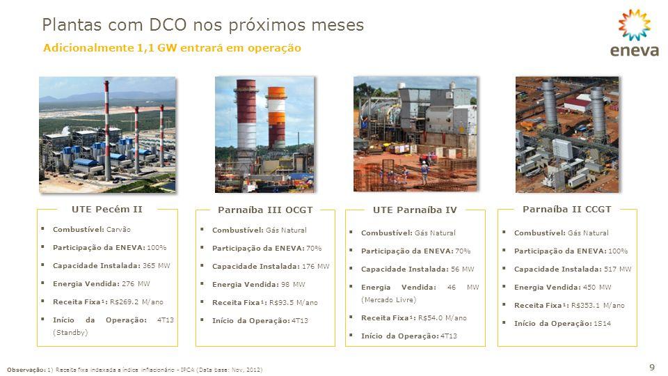 Adicionalmente 1,1 GW entrará em operação Plantas com DCO nos próximos meses 9 Combustível: Carvão Participação da ENEVA: 100% Capacidade Instalada: 3
