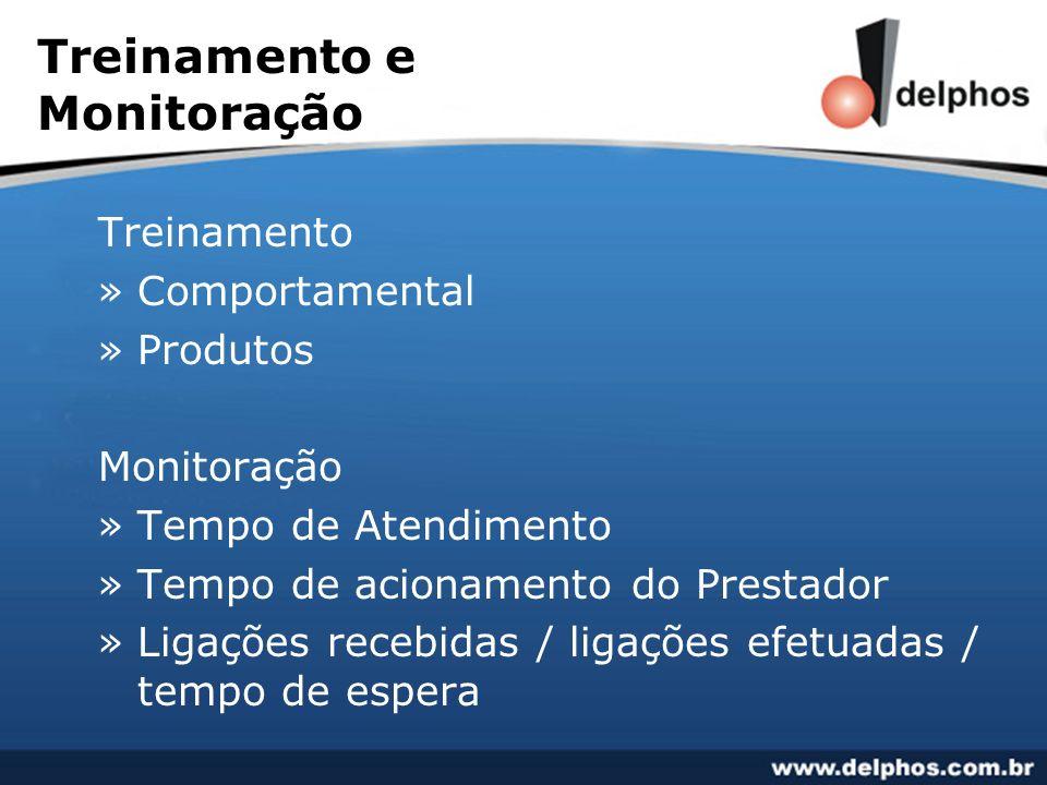 Treinamento e Monitoração Treinamento »Comportamental »Produtos Monitoração »Tempo de Atendimento »Tempo de acionamento do Prestador »Ligações recebid