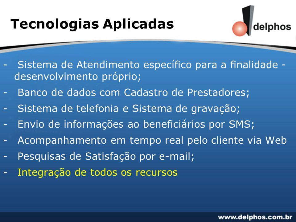 Tecnologias Aplicadas - Sistema de Atendimento específico para a finalidade - desenvolvimento próprio; - Banco de dados com Cadastro de Prestadores; -