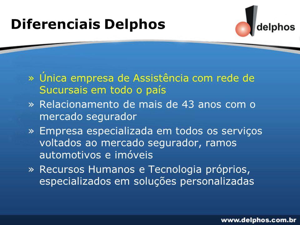 Diferenciais Delphos »Única empresa de Assistência com rede de Sucursais em todo o país »Relacionamento de mais de 43 anos com o mercado segurador »Em