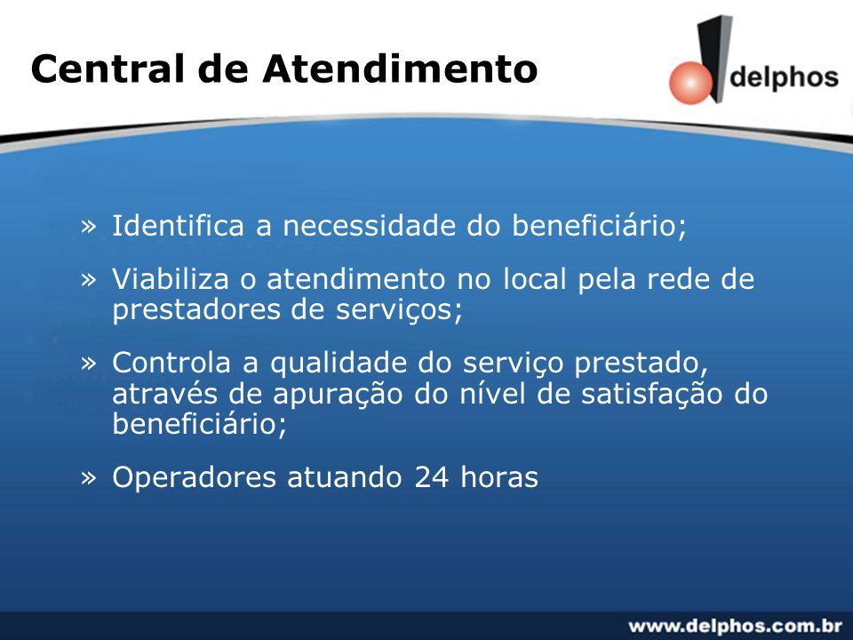 Central de Atendimento »Identifica a necessidade do beneficiário; »Viabiliza o atendimento no local pela rede de prestadores de serviços; »Controla a