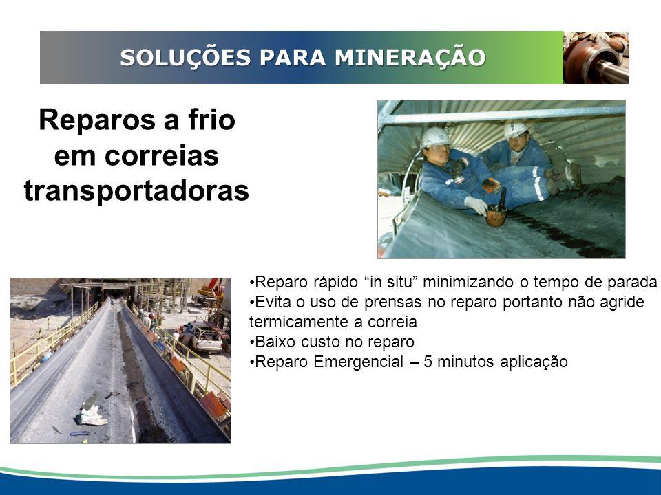 ADEQUAÇÃO EM REDUTORES SOLUÇÕES PARA MINERAÇÃO Reparos a frio evita empenamento do eixo Reparos emergenciais de 5 minutos !