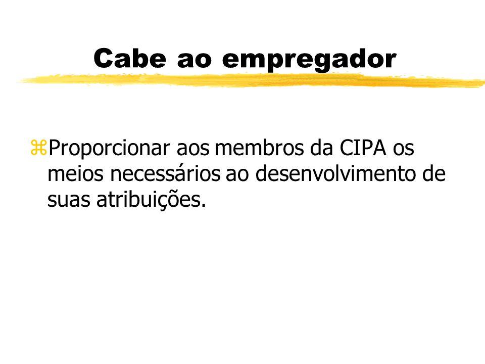 Atribuições da CIPA z- discutir acidentes ocorridos z- sugerir medidas de prevenção de acidentes z- promover a SIPAT