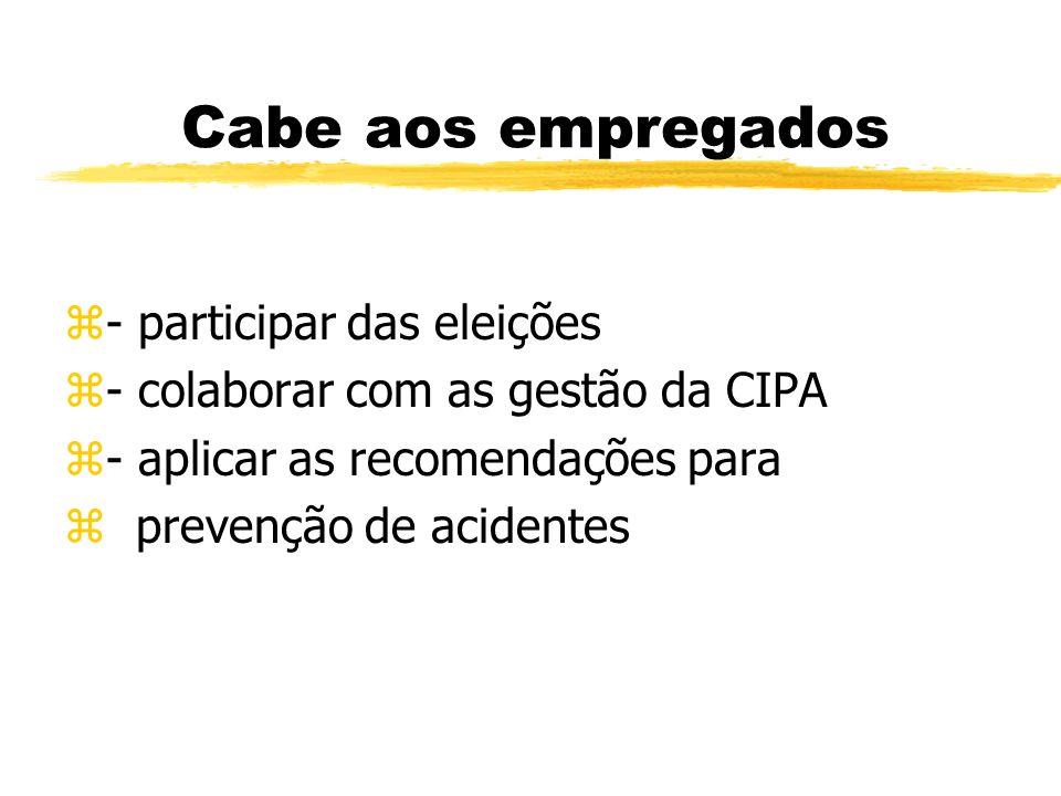 Cabe ao empregador zProporcionar aos membros da CIPA os meios necessários ao desenvolvimento de suas atribuições.