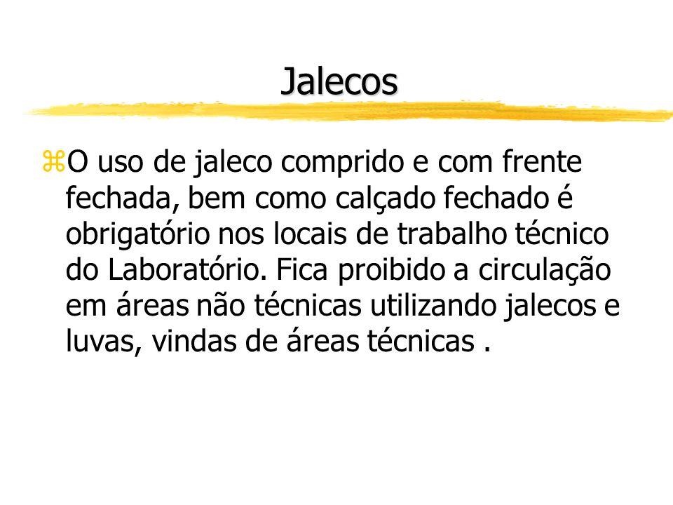 Jalecos zO uso de jaleco comprido e com frente fechada, bem como calçado fechado é obrigatório nos locais de trabalho técnico do Laboratório.