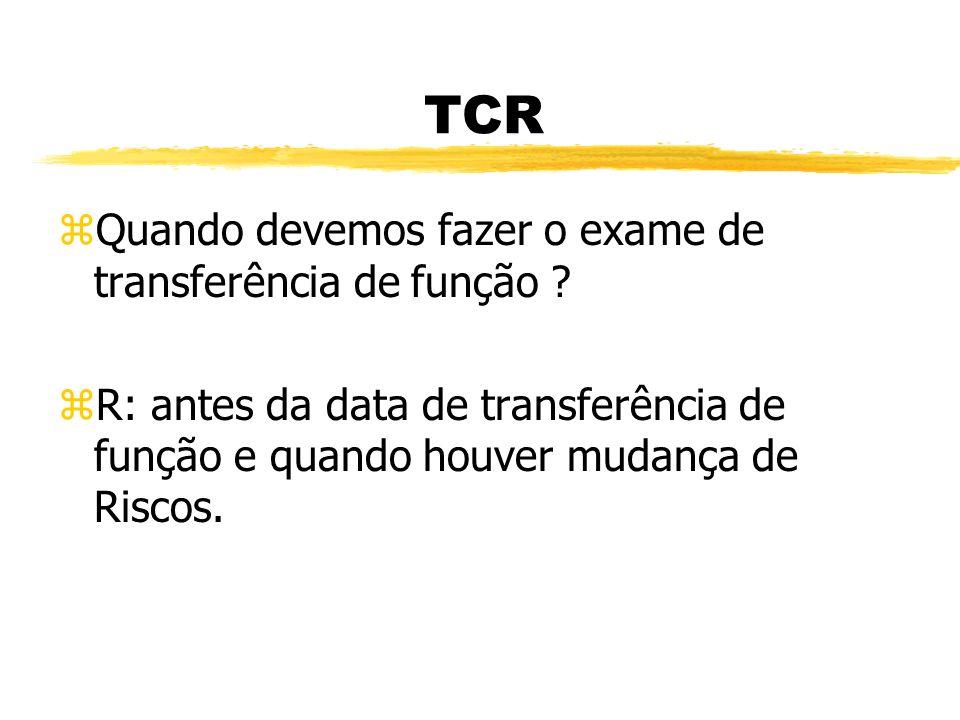 TCR zQual o tempo de afastamento do trabalho, que devemos fazer o exame de retorno ao trabalho ? zR: acima de 30 dias