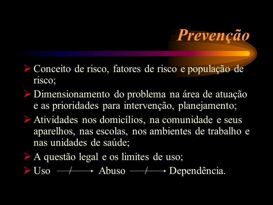 Prevenção Conceito de risco, fatores de risco e população de risco; Dimensionamento do problema na área de atuação e as prioridades para intervenção,