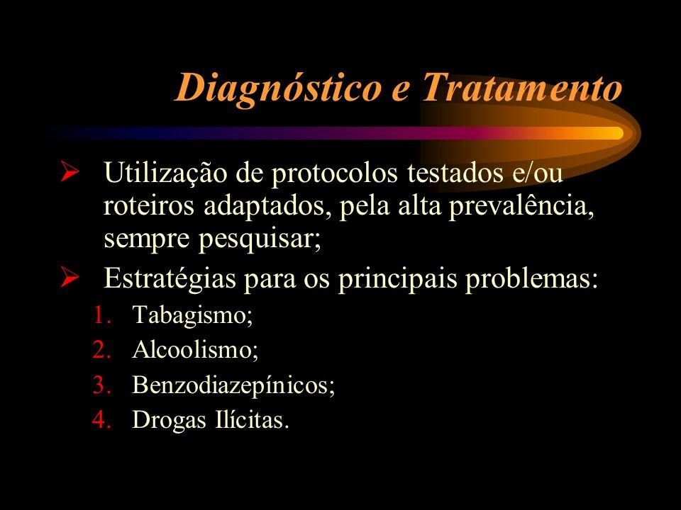 Diagnóstico e Tratamento Utilização de protocolos testados e/ou roteiros adaptados, pela alta prevalência, sempre pesquisar; Estratégias para os princ