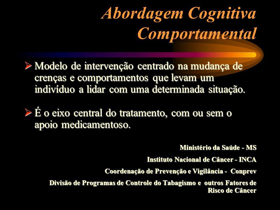Abordagem Cognitiva Comportamental Modelo de intervenção centrado na mudança de crenças e comportamentos que levam um indivíduo a lidar com uma determ