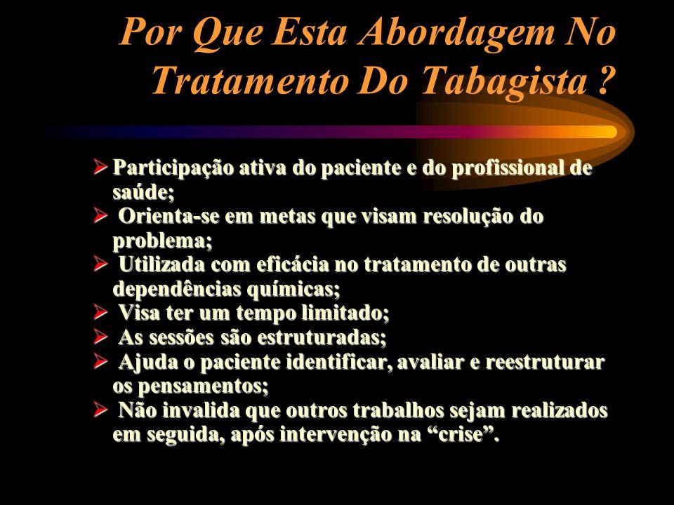 Por Que Esta Abordagem No Tratamento Do Tabagista ? Participação ativa do paciente e do profissional de saúde; Participação ativa do paciente e do pro