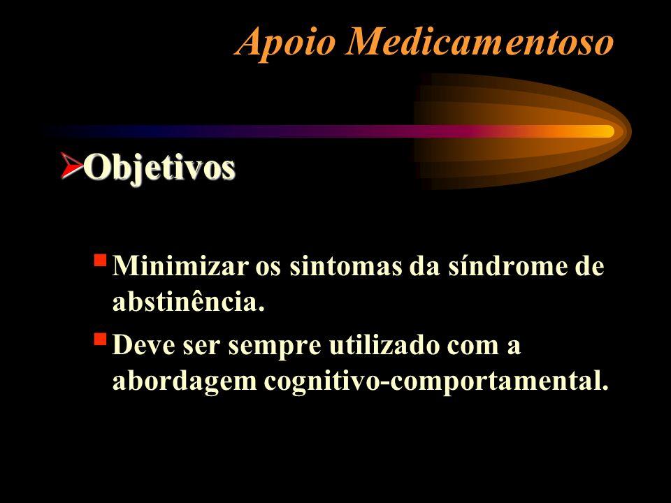 Apoio Medicamentoso Objetivos Objetivos Minimizar os sintomas da síndrome de abstinência. Deve ser sempre utilizado com a abordagem cognitivo-comporta