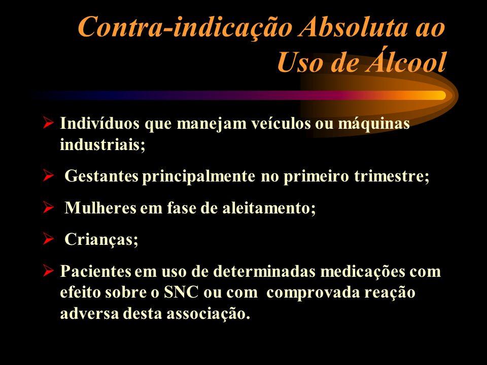 Contra-indicação Absoluta ao Uso de Álcool Indivíduos que manejam veículos ou máquinas industriais; Gestantes principalmente no primeiro trimestre; Mu