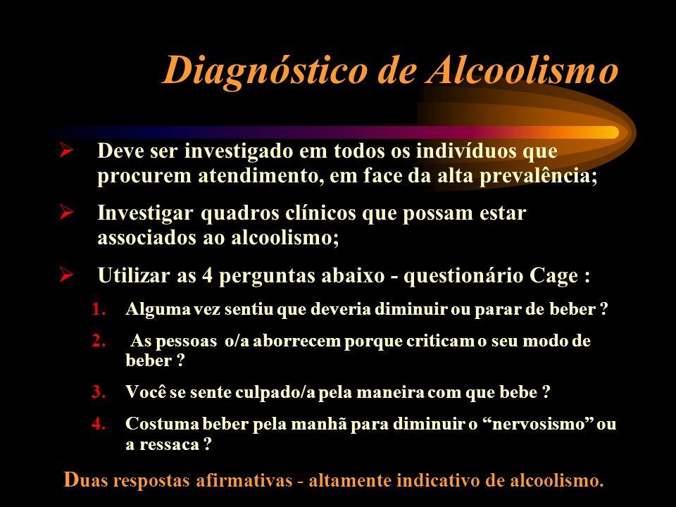 Diagnóstico de Alcoolismo Deve ser investigado em todos os indivíduos que procurem atendimento, em face da alta prevalência; Investigar quadros clínic