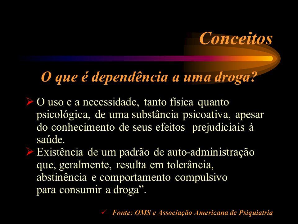 Conceitos O que é dependência a uma droga? O uso e a necessidade, tanto física quanto psicológica, de uma substância psicoativa, apesar do conheciment