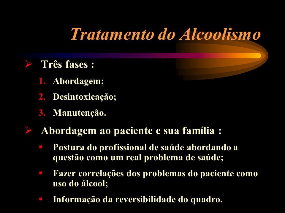 Tratamento do Alcoolismo Três fases : 1.Abordagem; 2.Desintoxicação; 3.Manutenção. Abordagem ao paciente e sua família : Postura do profissional de sa