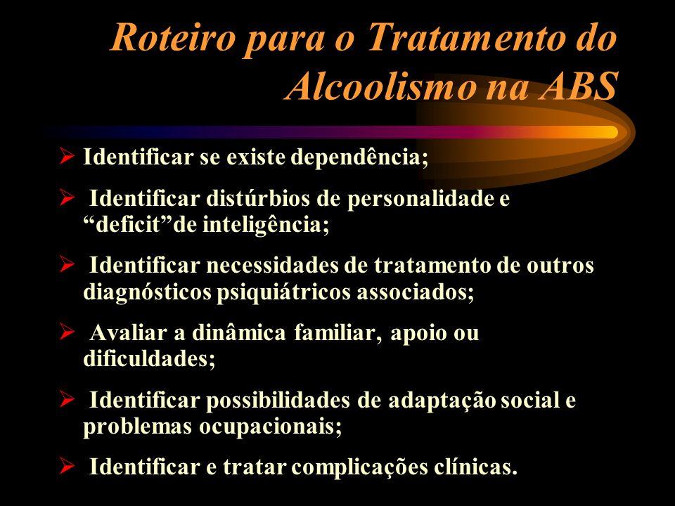 Roteiro para o Tratamento do Alcoolismo na ABS Identificar se existe dependência; Identificar distúrbios de personalidade e deficitde inteligência; Id