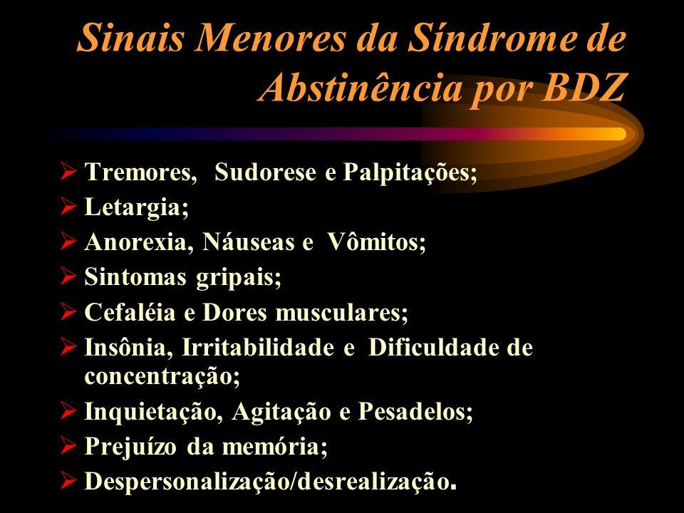 Sinais Menores da Síndrome de Abstinência por BDZ Tremores, Sudorese e Palpitações; Letargia; Anorexia, Náuseas e Vômitos; Sintomas gripais; Cefaléia