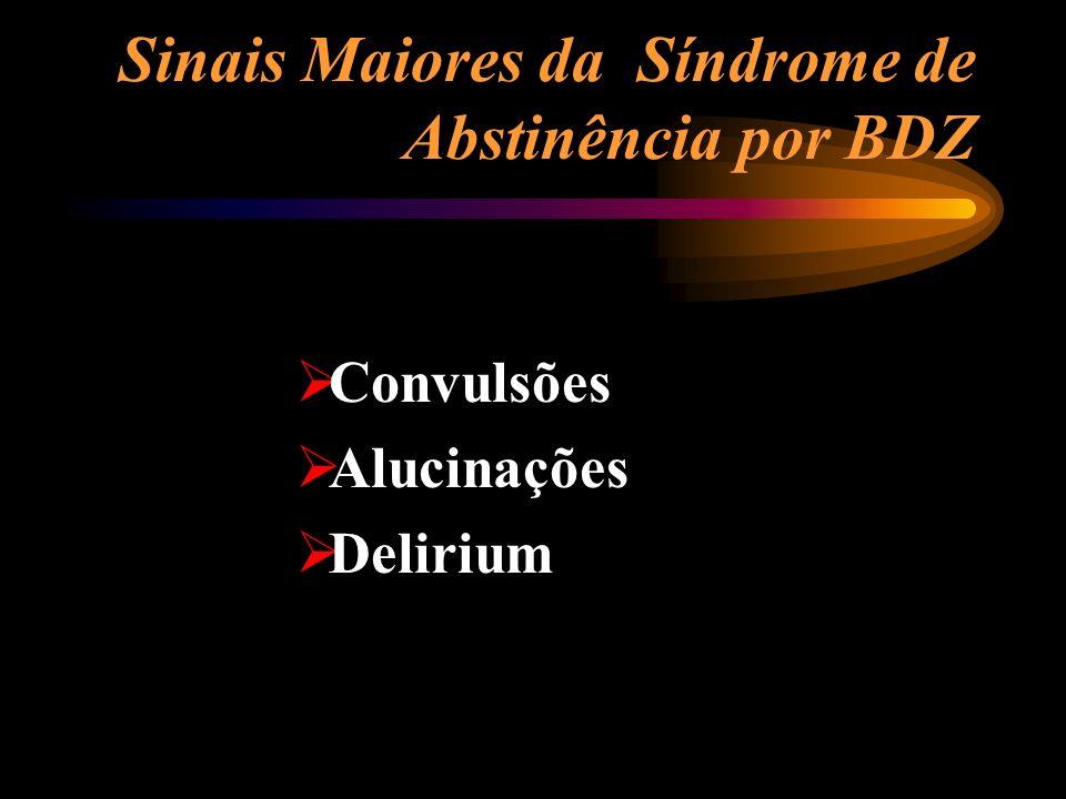 Sinais Maiores da Síndrome de Abstinência por BDZ Convulsões Alucinações Delirium
