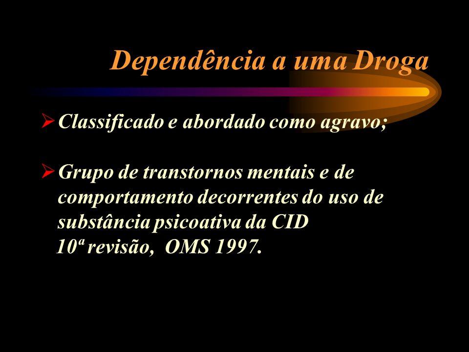 Dependência a uma Droga Classificado e abordado como agravo; Grupo de transtornos mentais e de comportamento decorrentes do uso de substância psicoati
