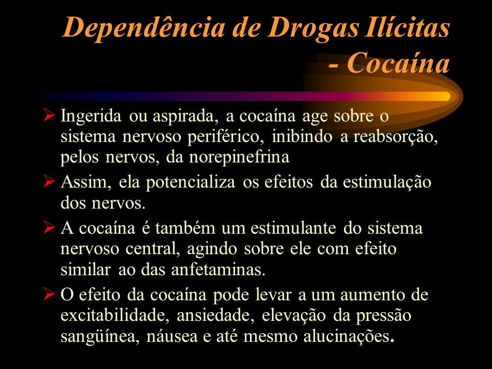Dependência de Drogas Ilícitas - Cocaína Ingerida ou aspirada, a cocaína age sobre o sistema nervoso periférico, inibindo a reabsorção, pelos nervos,